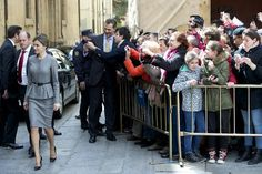 King Felipe and Queen Letizia of Spain at the Greater School of the University of Salamanca on April 4, 2016 in Salamanca, Spain.