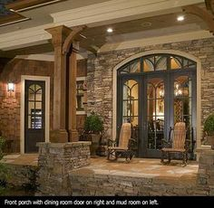 craftsman style big natural wood beams house country house plans country style home plans Craftsman Style Interiors, Craftsman Interior, Bungalow Interiors, Country Interiors, Casas Containers, Small Porches, Screened Porches, Country House Design, Country Style Houses