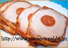 KOLBÁSSZAL TÖLTÖTT KARAJ My Recipes, Baked Potato, Main Dishes, Pork, Appetizers, Meat, Baking, Ethnic Recipes, Foods