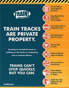 This great poster from SunRail in Florida gives a concise summary of safety tips for passenger rail riders and anyone who drives or walks near train tracks. Repin to share!