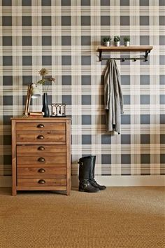 Buy Newington Check Wallpaper from the Next UK online shop Tartan Wallpaper, Home Channel, Feature Wallpaper, House Entrance, Entrance Ideas, Interior Decorating, Interior Design, Creative Home, New Homes