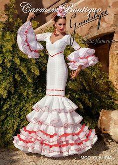 Traje de flamenca, Andalucía, España. Cute Dresses, Beautiful Dresses, Formal Dresses, Wedding Dresses, Spanish Dress, Spanish Wedding, Flamenco Dancers, Mexican Dresses, Folk Costume