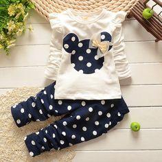 Vestidos marca nuevos niños de la ropa baby girl manga larga camisetas + polka dot pantalones de algodón de moda del Minnie que arropan a los niños