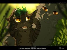 Where My Demons Hide... by Mizu-no-Akira | Brokenkit (Small black Tom) and Yellowfang (Older grey she-cat)