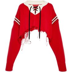 MONSE Cropped Hockey Sweater (58,590 PHP) ❤ liked on Polyvore featuring tops, sweaters, red, red cropped sweater, knit crop top, red top, cut-out crop tops and red crop top
