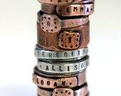Personalized Copper Ring E0230 by monkeysalwayslook on Etsy