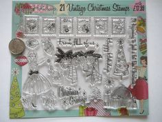 21pc Vintage Christmas Clear Rubber Stamp Set ~ Scrapbooking ~ Card Making by…