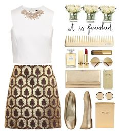 """Untitled #142"" by imelda-marcella-chandra ❤ liked on Polyvore featuring Ted Baker, Gucci, Aetrex, Jimmy Choo, Yves Saint Laurent, Chanel, Kate Spade, 14th & Union, ZeroUV and Chico's"