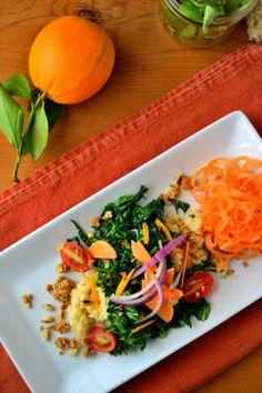 Crunchy Kale Millet with Orange Citrus Dressing | BakeryonMain | #glutenfree #kale #recipe #healthy