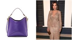 From left: Kerry Washington and Aquatalia's bag for the Allstate Foundation Purple Purse initiative; and Kerry Washington wearing a custom Michael Kors Collection dress.