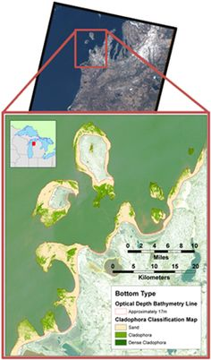 Cladophora extent has been successfully mapped in the nearshore using Landsat 5 and 7 imagery in addition to commercial satellite imagery. Moreover, Landsat satellites offer a near-nadir, consistent viewing geometry that is helpful for Cladophora mapping. The historical archive offered by Landsat is longer than any commercial satellites, allowing for long-term time series analysis of Cladophora growth. Landsat is the best compromise between cost and resolution for this analysis.