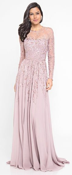 Shimmering Tulle & Chiffon Jewel Neckline Long Sleeves A-line Mother Of The Bride Dresses With Beadings