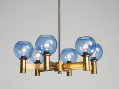 Chandelier in Brass with Blue Colored Glass Shades 2