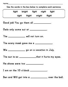 Worksheets Ight Words Worksheet ight worksheets long vowel eat word family tree printables