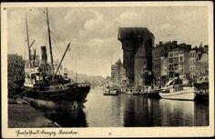 Ansichtskarte / Postkarte Gdańsk Danzig, Das Krantor der Hansestadt, Schiffe