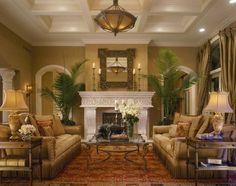 carved stone fireplace and arches