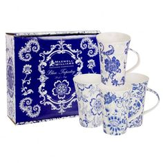 Maxwell Williams Blue Tapestry Mugs Gift Boxed Blue And White China, Blue China, Love Blue, Blue Tapestry, White Dishes, Something Blue, White Decor, Mugs Set, Delft