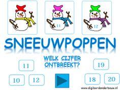 Sneeuwpoppen: welk cijfer ontbreekt? Cijfers van 10 tot en met 20 op digibordonderbouw.nl