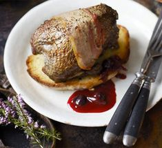 Roast grouse with blackcurrant & beetroot sauce. Available from August, this game bird is best served with a fresh, full-flavoured fruit sauce and a dash of whisky to boot Wild Game Recipes, Bbc Good Food Recipes, Fruit Sauce, Carbs Protein, Roasting Tins, Slow Roast, Cookery Books, Grouse, Beetroot