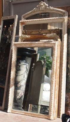 Old mirrors: these are from the Clignancourt flea market, Paris. I Love Mirrors, Mirror Mirror, Gold Mirrors, Paris Flea Markets, Empty Frames, Paris Apartments, French Decor, Antiques, House Design
