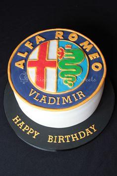 Car Cakes For Men, Birthday Cakes For Men, Happy Birthday, Future Electric Cars, Alfa Romeo Logo, Alfa Alfa, Hood Ornaments, Food Cakes, Kitchens