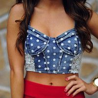 Spotted With Lace Crop Top:Denim | Hopes