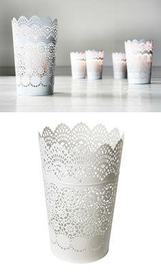 "***Inexpensive IKEA Lanterns, perfect for centerpieces***   SKURAR Lantern for block candle, 9"" tall, $5.99   IKEA"