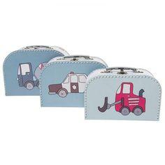 """Spielzeugkoffer, hübsches Koffer 3er-Set """"Village Boy"""", aus stabilem Karton, von sebra - itkids Online Store"""