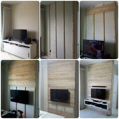Antes, durante e depois Painel de tv feito com madeira pinus e MDF, inspiração…