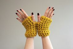 Mustard Yellow Chunky Crochet Wrist Warmers by LumiStyle #Wrist_Warmers