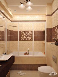 Идея для ванной комнаты в коричневых и бежевых тонах.