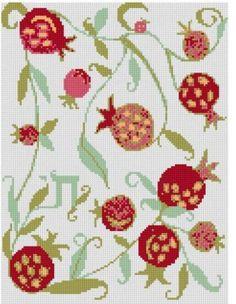 "9""x12"" Fruits of Life Pomegranates Jewish Judaica Counted Cross Stitch Chart   eBay"