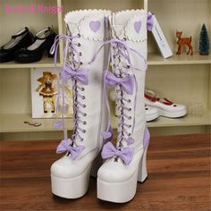 12.5cm Super High Heel Platform Princess High Boots White & Purple Leather Lace-up Bows Sweet Lolita Cosplay Boots