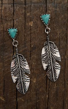 Burnished Silver Feather with Turquoise Stone Earrings