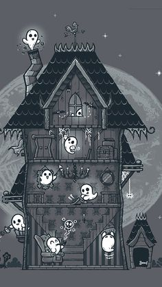 Vintage Halloween • 365daysofhalloween:   Haunted House Ghosties phone...