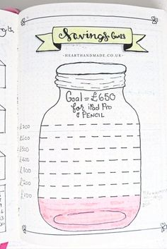 Hand Drawn Savings goals in my Bujo. A simple Bullet Journal Layout from the post designed Easily Improve Your Handwriting As An Adult With these handy tools and tips +Bonus free printable handwriting practice worksheets