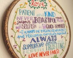 Hand Embroidered Stitched Needlework 1 Corinthians 13 Love Chapter Bible Verse Colorful Embroidery Hoop Wall Hanging Home Decor Decoration