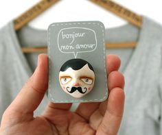 """French mustache man brooch - Gentleman face pin - """"Henri"""" - Ready to ship. via Etsy. Mustache Men, Moustache, Polymer Clay Crafts, Diy Clay, Paper Clay, Clay Art, Pillow Fight, Air Dry Clay, Hand Made"""