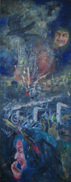 Kraaienparadijs, vijfluik Oorlog, linkerpaneel. olieverf op paneel, 128 x 50