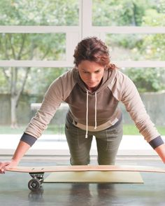 Get the benefits of a private #Pilates class, minus the price tag. Four reformer moves using a skateboard!
