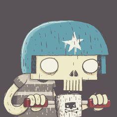 @jetpackandrollerskates Skull Boy #illustration #bikes #skeleton #skull #design