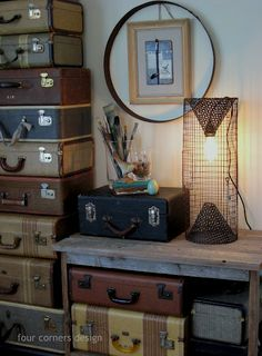 perfect rusty lamp made from an old crab pot...
