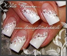 Stamping and shell splitting. The stamping template is the from Mobile Nail Art. It is not a wedding design, the customer always wants it to be so festively white. in nail design – Discover images – Today Pin - Nailart Cute Acrylic Nails, Acrylic Nail Designs, Cute Nails, Nail Art Designs, Pretty Nails, French Nails, Nagel Stamping, Mobile Nails, Bridal Nail Art