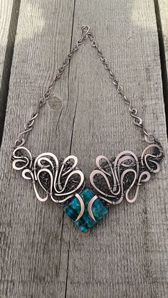 Copper wire necklace,Handmade copper wire necklace with natural Turquoise inspired by fairy tales ,Fantasy jewelry,statement necklace - pinned by pin4etsy.com