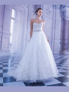 White A Line Sweetheart Beads Tulle Satin 2014 Wedding Dresses AWD100138