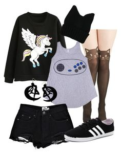 """""""Black with Flair"""" by smarties-mu ❤ liked on Polyvore featuring Sega, Boohoo, adidas NEO and Usagi"""