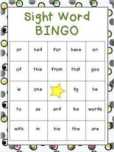 FREE Beginning Sight Word Bingo Games (Frys)