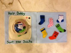 Matching socks with magnets! Quiet book page