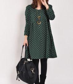 Darkgreen cotton dress long sleeve dress maxi by originalstyleshop, $59.00
