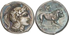 Didrachm from Velia, Lucania c. 305-290 BC The head of Athena facing right, wearing a crested Attic helmet decorated with a griffin, Δ above vizor. On the reverse, YEΛHTΩN (in the exergue) above a lion walking to the right, a pentagram between Φ-I above. Velia was an ancient city of Magna Graecia on the coast of the Tyrrhenian Sea. It was originally founded by Greeks from Phocaea as Hyele around 538–535BC. The ruins of Velia are located near the modern village of Velia in the Cilento…